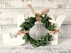 Cottage Chic Ivory Free Standing JOY Letter Sign with Wreath | Rustic Chic Christmas Décor | Front Door Décor | Christmas Mantel Décor by joanne