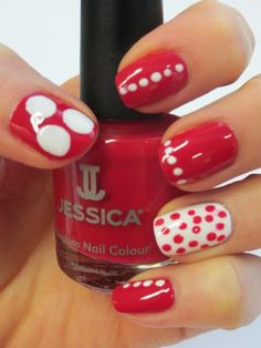 Comic Relief inspired nails using Jessica Custom Nail Colours in On The Rocks and Royal Red.