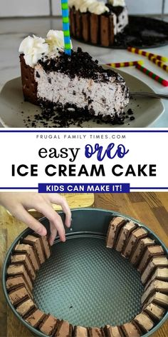 As tasty as a Dairy Queen cake at a fraction of the cost. So quick and simple to make - takes mere minutes and simple enough for kids to make themselves. The ice cream sandwich border gives the perfect cookies and cream touch! Oreo Easy Ice Cream Cake - that kids can make! Cheesecake Ice Cream, Ice Cream Desserts, Frozen Desserts, Cake Recipes For Kids, Homemade Cake Recipes, Oreo Ice Cream Sandwich, Sandwich Cake, Mint Chip Ice Cream, Dairy Queen Ice Cream Cake Recipe