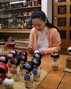 Oki Izumi of Zen World a one of a kind Kokeshi Doll maker.