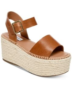 fc1ecdf42768 Steve Madden Women s Cabo Flatform Sandals - Brown 5.5M Brown Wedge Sandals