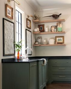 Green Cabinets, Kitchen Cabinets, Kitchen Confidential, Green Kitchen, Types Of Wood, Accent Colors, Own Home, Shades Of Green, Shelves