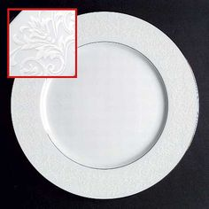 """Fresco"" china pattern with white floral trim from Sango."