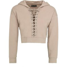 Cropped Lace-Up Hoodie Beige ($31) ❤ liked on Polyvore featuring tops, hoodies, hooded pullover, crop top, cropped hoodies, cropped hooded sweatshirt and sweatshirt hoodies