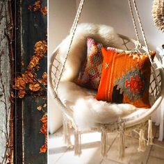 Függőfotelben őszi színes párna Dio, Hanging Chair, Blanket, Furniture, Home Decor, Decoration Home, Hanging Chair Stand, Room Decor, Home Furnishings
