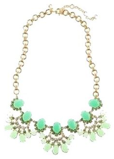 J.Crew Crystal Cabochon Fan Drop Necklace in Spearmint 64% off retail