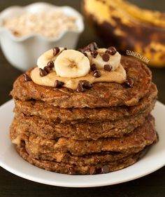 Banana Pancakes - gluten-free, 100% whole grain, and dairy-free. And they don't taste the least bit healthy! | texanerin.com