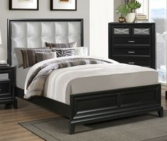 Elisa Queen Panel Upholstered Bed | Crown Mark Furniture | Home Gallery Stores
