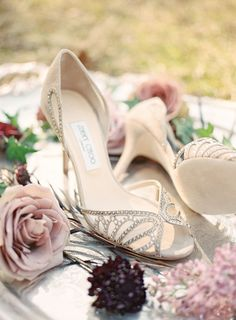 Jeweled nude Jimmy Choos | Photography: Alicia Lacey Photography - alicialaceyphotography.com/  Read More: http://www.stylemepretty.com/2015/06/03/fairytale-wedding-inspiration/