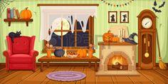 house interior: Vector illustration d'un salon avec fauteuil, table, horloge et cheminée décorée pour la fête d'Halloween. Illustration
