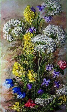 Silk ribbon embroidery Wildflowers  full kit