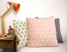 Powder Salmon Pink Pillow with graphic geometric pattern, Scandinavian modern contemporary, Pillowcase 50 cm blue piping invisible zip