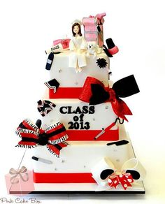 graduation cake- minus the cheerleading for a cosmetology/spa graduation!!!