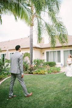 Gray groom suit.  Brown shoes.  Vis Photography - San Diego Weddings.
