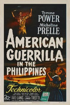 Directed by Fritz Lang. With Tyrone Power, Micheline Presle, Tom Ewell, Robert Patten. American soldiers stranded in the Philippines after the Japanese invasion form guerrilla bands to fight back. Tyrone Power, Fritz Lang Film, Power Photos, War Film, Movie Magazine, Mystery Thriller, American Soldiers, Movie Theater, Philippines
