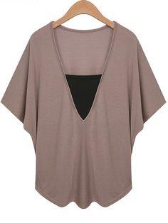 Khaki V Neck Bat Sleeve Plus T-shirt