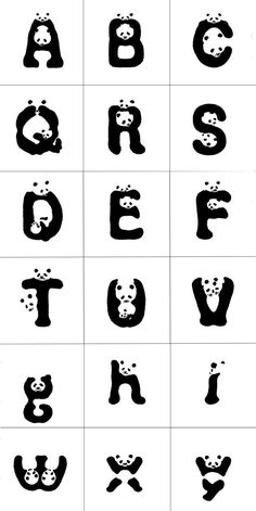 TYPOGRAPHY: Panda font is cute and I never see other animals have been made into fonts. It can also raise people's awareness to save the panda. Panda Birthday Party, Panda Party, 16th Birthday, Alphabet Design, Panda Love, Cute Panda, Panda Craft, Typographie Inspiration, Schrift Design