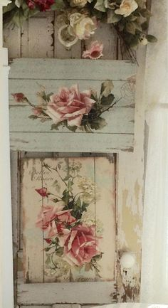 nice shabby chic idea made with pallet (decoupage) nice shabby chic idea made with pallet (decoupage) - Mobilier de Salon Shabby Chic Mode, Shabby Chic Crafts, Shabby Chic Interiors, Shabby Chic Living Room, Shabby Chic Pink, Shabby Chic Bedrooms, Shabby Chic Kitchen, Shabby Chic Cottage, Vintage Shabby Chic