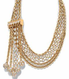 Tiffany Digne des stars hollywoodiennes, ce collier de la collection Masterpieces 2015 : maillons d'or jaune, diamants taille rose et cristal