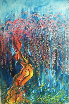 quadro moderno dipinto a mano olio su tela 60X90 glicine paesaggio M. RANCURA