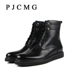 Promotion price PJCMG New High Quality Winter Vintage Motorcycle Western Genuine Leather Boots Men Black Motorcycle Winter Boots For Men just only $85.50 with free shipping worldwide  #menshoes Plese click on picture to see our special price for you
