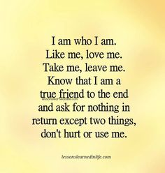 I am who I am. Like me, love me. Take me, leave me. Know that I am a true friend to the end and ask for nothing in return except two things, don't hurt or use me. Lessons Learned In Life