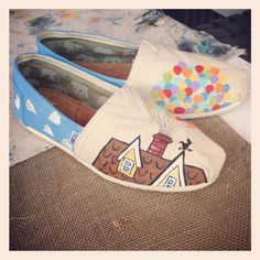 Custom Painted Shoes. Up!  Toms $25