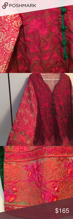 One of a kind hand-embroidered tunic dress - M/L ✅ Shipped ASAP ✅ Bundles (customizable) ✅ Prices negotiable  ✅ Questions  ✅ Poshmark compliance ❌ Trades ❌ PayPal or off-app sales  This stunning burgundy drop-shoulder tunic has many shades of pink hand-embroidered flower patterns fully covering the front and sleeves with a back of patterned chiffon.The buttons are emerald green silk.The craftsmanship is exquisite and worn as is,with a pair of tights,cigarette pants or straight leg pants…