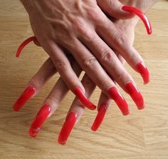 Long red nails