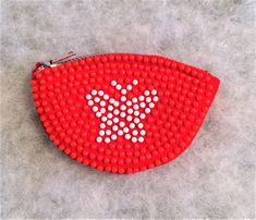 Items similar to Vintage Red Beaded Plastic Change or Change Purse with Butterfly on Etsy Change Purse, Vintage Purses, White Beads, Red And White, Coin Purse, Butterfly, Plastic, Wallet, Etsy