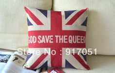 """Free shipping Beautiful UK the Union Jack Flag """"God Save the Queen"""" words pattern cushion cover decorative throw pillow case-in Cushion Cove..."""