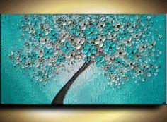 Big Oil Impasto Painting Original Texture Modern Aqua Teal Beige Brown White Floral Tree Sculpture Knife Painting by Je Hlobik