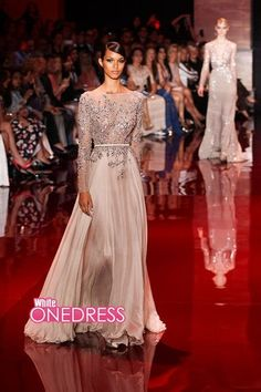 Elie Saab Fall Winter Crystal Pageant Gowns Evening Dresses With Long Sleeve