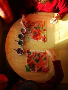 Dyeing with food dyes, including Kool Aid is a great project for working with children, and can also be a practical way for anyone to get some lovely variegated wool felt into their stash!