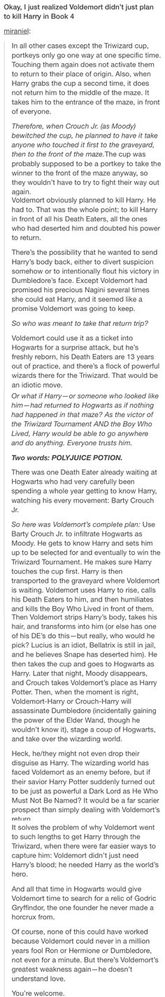 Except, there's Eve. She was there except, she always was invisible until she saved Harry. And that was because you could see her outline. Maybe Eve wouldn't of saved Harry, know Voldemort's plan. Instead. She reads his mind. And sees the horocruxes. And then plans on destroying them all.