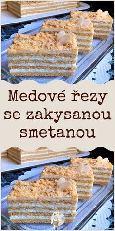 Medové řezy se zakysanou smetanou Toffee Bars, Czech Recipes, Recipes From Heaven, Sweet Recipes, Baking Recipes, Tart, Nom Nom, Clean Eating, Food And Drink