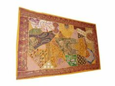 Sari Wall Hanging Orange Beaded Patchwork Tapestry Throw India Mogul Interior,http://www.amazon.com/dp/B00G9V18UU/ref=cm_sw_r_pi_dp_ZutIsb079H717PNC