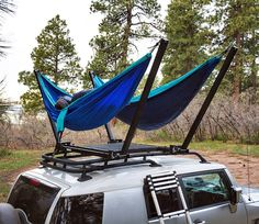 the trailnest hammock attaches to your roof bars for sleeping under the stars : the trailnest hammock stand clamps securly to the existing roof bars of your car letting you experience vehicular camping from an entirely new perspective. Camping Diy, Auto Camping, Truck Camping, Tent Camping, Camping Hacks, Camping Gear, Outdoor Camping, Backpacking Gear, Camping Kitchen