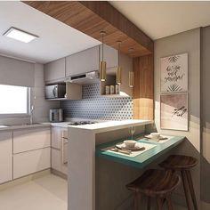 """605 Likes, 12 Comments - Decor , Designer De Interiores (@cynthia_sartori_interiores) on Instagram: """"Que tal essa cozinha clean com muito aproveitamento de espaço? By @arqdesign.analu #cozinhapequena"""""""