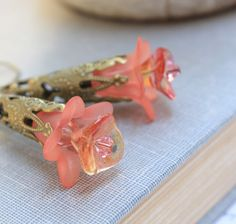 Coral Flower Earrings Lucite Jewelry Long by apocketofposies