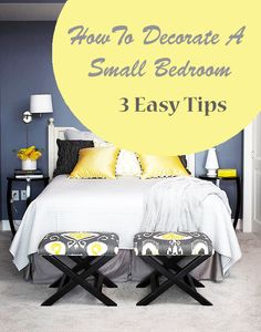 Small bedrooms can be a bitch to decorate.  Pin for later or click here for the small bedroom design tips: http://www.redoyourroomonline.com/decorate-small-bedroom-3-easy-simple-tips/