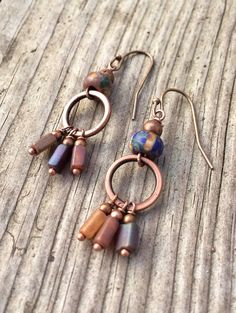 Colorful Small Boho Copper Dangle Earrings Czech Glass