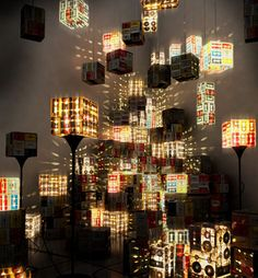 Incredibly cool lamps made from old audio cassettes. #design #lighting #innovation (via @sinipes)