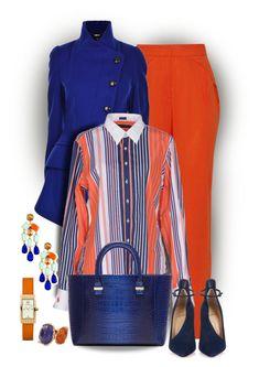 """Orange and Blue"" by celeste-menezes ❤ liked on Polyvore featuring Vionnet, Ralph Lauren, Christian Louboutin, Victoria Beckham, Kate Spade, Tory Burch and Lucifer Vir Honestus"
