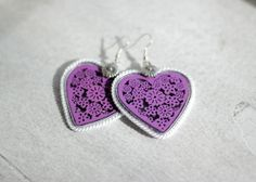 Purple Hearts Earrings Purple Soutache by HeriniasJewelryChest, $22.00