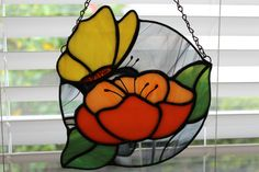 The Stained Glass Yellow Butterfly On A Flower - Suncatcher - Butterfly Lover - pinned by pin4etsy.com