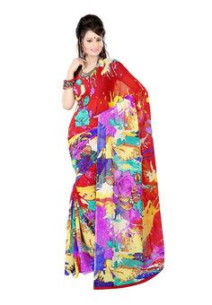 Fabdeal Red Colored Dani Georgette Printed Saree