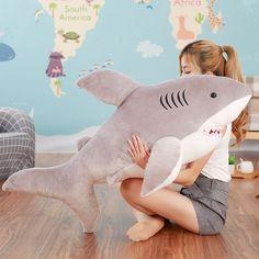2017 70cm 80cm new super soft cute horror shark plush toy shark pillow doll girl children birthday gift