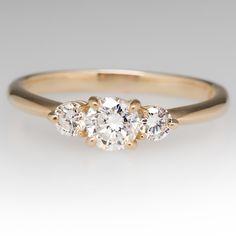 14K+Yellow+Gold+Three+Stone+Round+Brilliant+Diamond+Ring