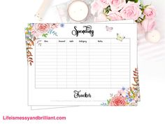 Spending Tracker Printable and spending tracker bullet journal printable with watercolor flowers in the corners